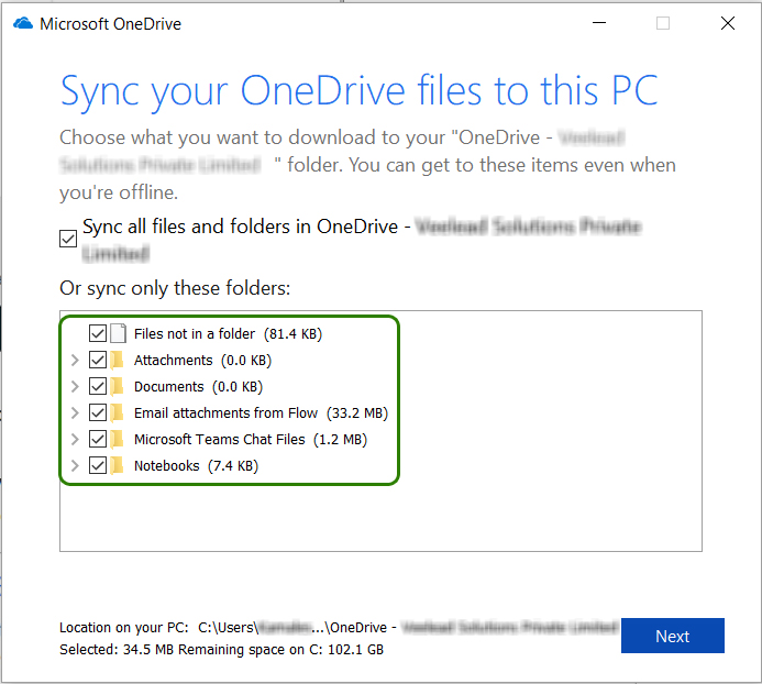 Sync your OneDrive files