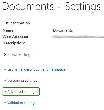 Documents Settings