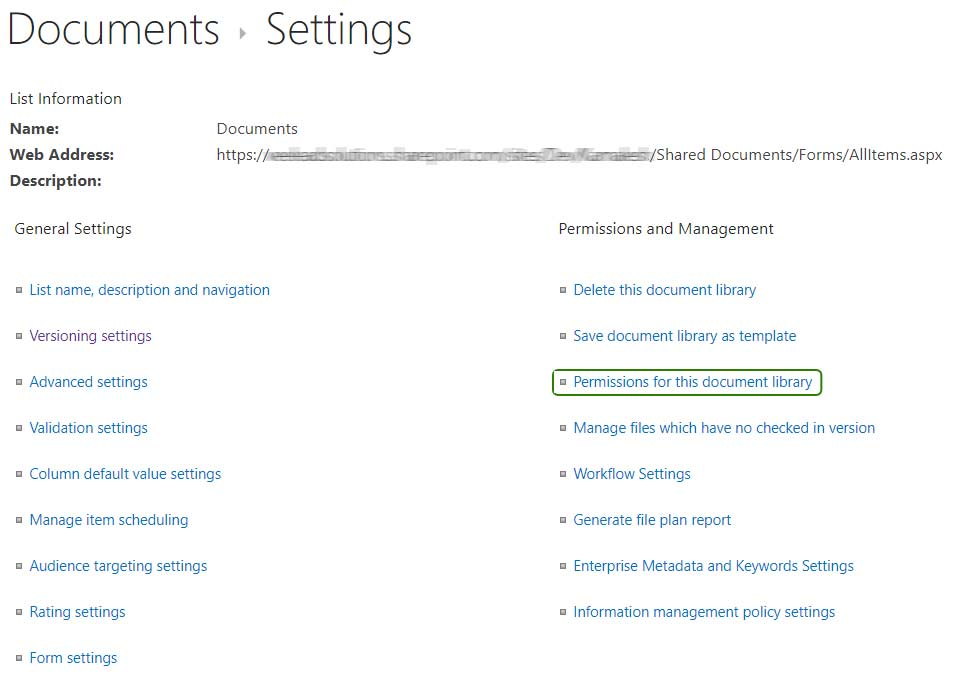 SharePoint document settings