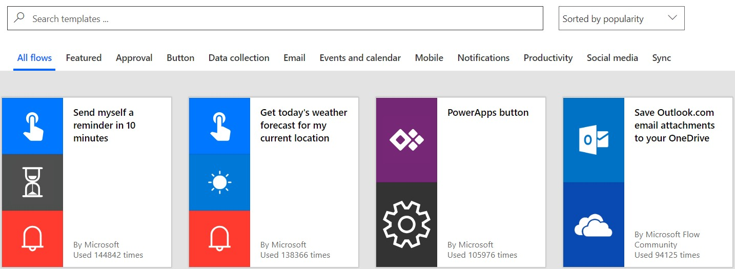 Microsoft flow templates