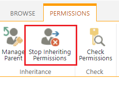 Stop Inheriting Permissions