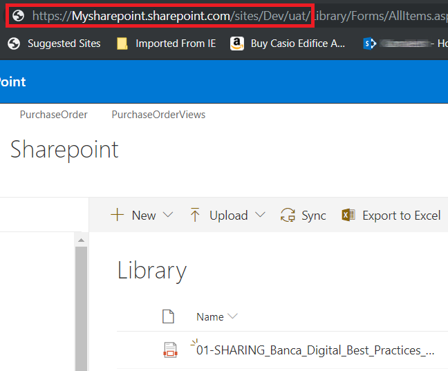 Copy URL of SharePoint site