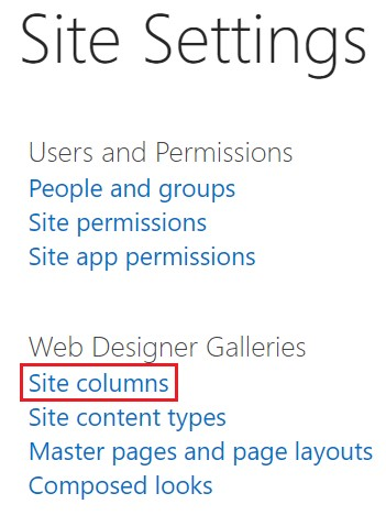 SharePoint site column