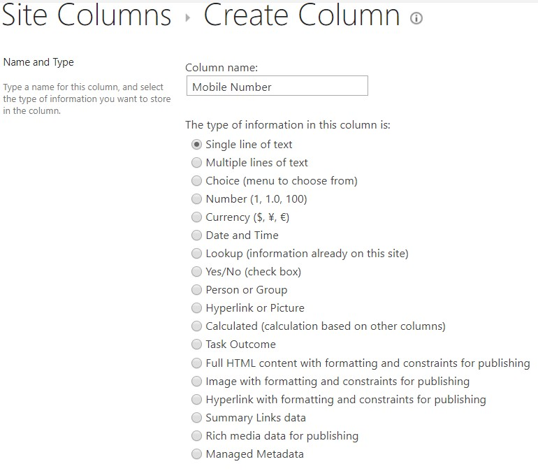 Column name and type