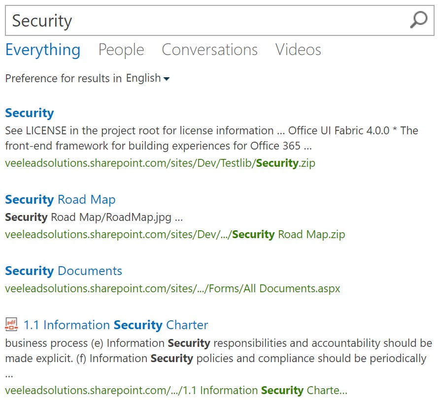 SharePoint search security