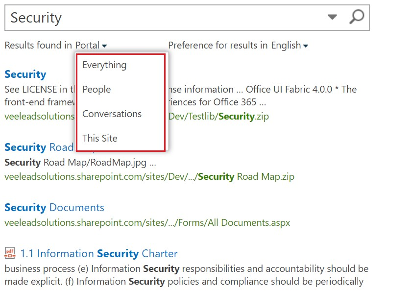 SharePoint portal dropdown