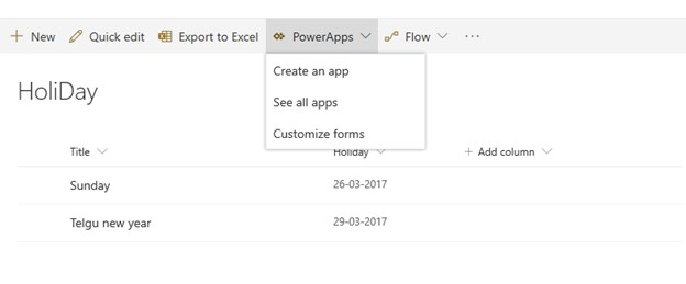 create an app with powerapps